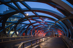 Geneva bridge night scene. Illuminated Bird`s Nest bridge in Geneva, Switzerland. Night scene royalty free stock images