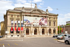 Geneva. Building of opera theater on the New Square Royalty Free Stock Images