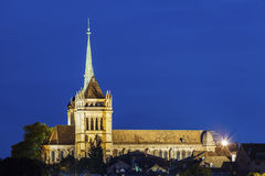 Geneva Cathedral at night. Geneva Cathedral seen at night. Geneva, Switzerland Stock Images