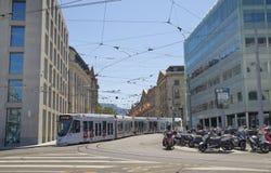 Geneva center - street view Royalty Free Stock Photo