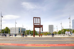 Geneva. Chair, symbol of prohibition of personnel mines and cass Stock Image