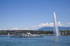 Geneva City. With a tourist boat in the Leman Lake Stock Photography