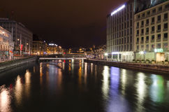 Geneva city by night Royalty Free Stock Image