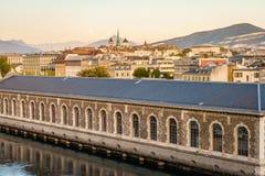 Geneva city at sunset, Switzerland Stock Photo