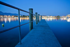 Geneva Cityscape. Vie of the city of Geneva, Switzerland from a pier Royalty Free Stock Images