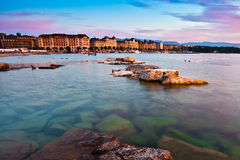 Geneva Cityscape. The city of Geneva in the morning sun light Stock Photography