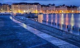 Geneva Cityscape. Geneva Switzerland old buildings at Lake Geneva Shores at dawn Royalty Free Stock Photography