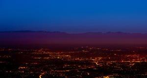 Geneva Cityscape At Dawn. Geneva Switerland at dawn, with Jura Mountain range at the background Royalty Free Stock Photography
