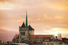 Geneva cityscape overview with St Pierre Cathedral Stock Image