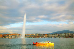 Geneva cityscape overview with the Water Fountain (Jet d'Eau) Stock Photos