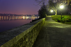 Geneva Dawn. A lakeside pathway by Lake geneva Royalty Free Stock Photos