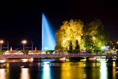 Geneva downtown at night. GENEVA, SWITZERLAND - SEPTEMBER 15, 2014: Geneva downtown at night. Geneva is the second most populous city in Switzerland and is the Royalty Free Stock Photography