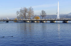 Geneva. And the famous water jet in the lake Leman by a sunny winter day stock photo