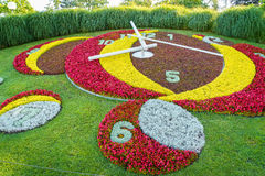 Geneva Flower Clock. Flower clock in jardin Anglais, Geneva, Switzerland Royalty Free Stock Photo