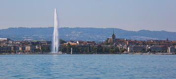 Geneva Fountain panoramic. Geneva Fountain and city skyline panoramic stock photography