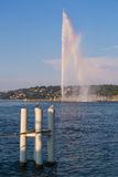 Geneva Fountain and rainbow. The world famous Geneva Fountain, at certain hours a small section of rainbow is visible in the fountain royalty free stock photo