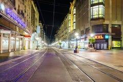 geneva gata switzerland Arkivbild