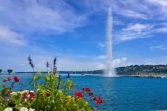 Geneva Geneve lake water Jet D`eau Switzerland. Swiss Leman stock image