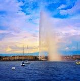 Geneva Geneve lake water Jet D`eau Switzerland. Swiss Leman Stock Photo