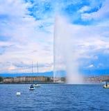 Geneva Geneve lake water Jet D`eau Switzerland. Swiss Leman Royalty Free Stock Photo
