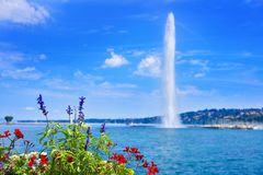 Geneva Geneve lake water Jet D`eau Switzerland. Swiss Leman royalty free stock photos