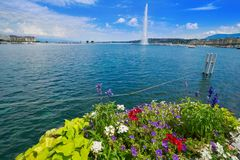 Geneva Geneve lake water Jet D`eau Switzerland. Swiss Leman Royalty Free Stock Photos