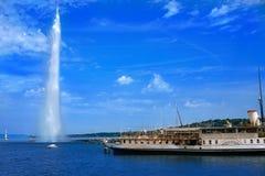 Geneva Geneve lake water Jet D`eau Switzerland. Swiss Leman Stock Photography