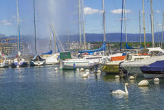 Geneva harbor, Switzerland Stock Image