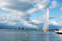 Geneva and Jet d'Eau Royalty Free Stock Images
