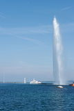 Geneva, jet d'eau fountain and passenger ship Royalty Free Stock Image