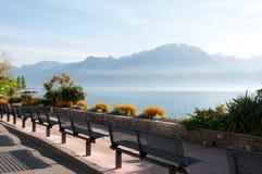 Geneva Lake. Embarkment of Geneva Lake, Montorux Stock Photo