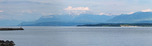 Geneva lake and Alps mountain, Switzerland Stock Image