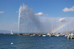 Geneva lake fountain view royalty free stock image