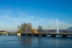 Geneva lake fountain view Stock Photos