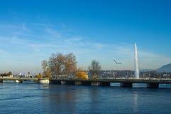 Geneva lake fountain view. View on Geneva bridge and famous Jet d'Eau fountain, horizontal, daylight stock photos