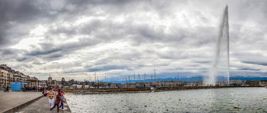 Geneva Lake Front - Jeat d'Eau Royalty Free Stock Photo