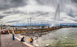Geneva Lake Front - Jeat d'Eau II Stock Photo
