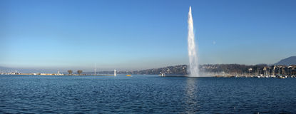 Geneva lake and Jet d'Eau Stock Photo