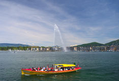Geneva lake and Jet d'Eau Royalty Free Stock Images
