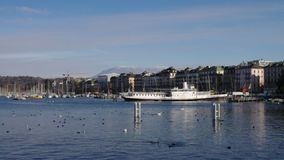 Geneva lake and Jet d'Eau stock footage