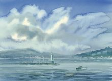 Geneva lake landscape with clouds and mountains watercolor. Blue summer landscape royalty free illustration