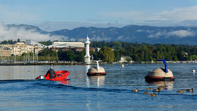 Geneva. The lake Leman in Geneva Royalty Free Stock Images