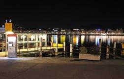 Geneva lake by night. Switzerland Royalty Free Stock Images
