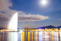 Geneva lake. Geneva by night, switzerland ,waterfront, luxury brand, offices of multinational Royalty Free Stock Photos
