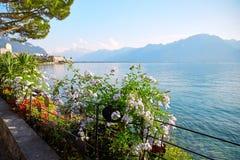 Geneva lake, Switzerland. Geneva lake Embankment, Montreux, Switzerland stock photography