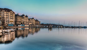 Geneva lakefront. View of the Geneva Lakefront on a calm morning Stock Image