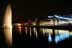 Geneva på natten Arkivfoton