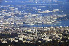 Geneva and Leman lake. Aerial view from saleve, savoy, france Stock Photos