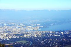 Geneva and Leman lake. Aerial view from saleve, savoy, france Royalty Free Stock Images
