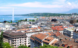 Geneva, the Leman Lake and the Water jet. The city of Geneva, the Leman Lake and the Water jet Stock Image